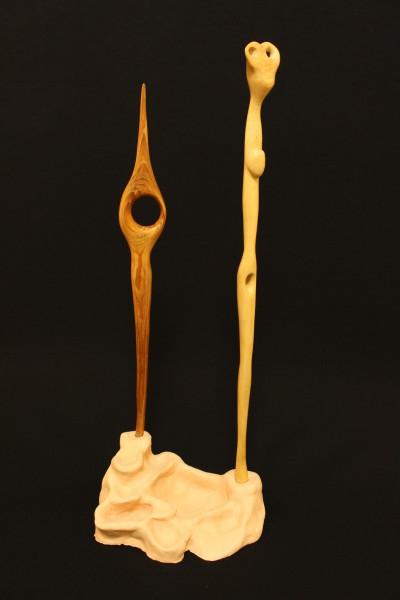 """""""Fruchtbarkeit""""    1993, Holz/Keramik, stehend, 46 cm hoch"""