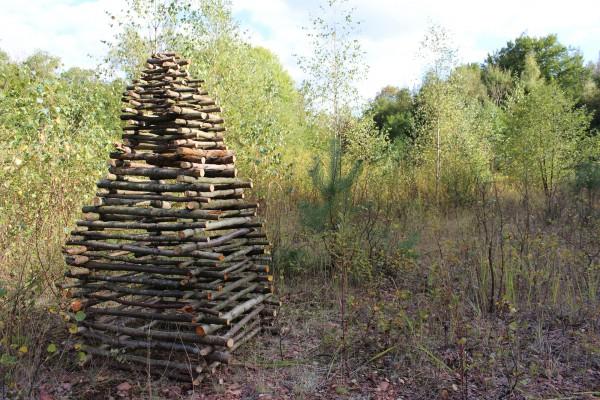 """Oktober 2013,   """"Pyramide""""  Fundhölzer im Wald zwischen  Riegelsberg und Fischbach"""