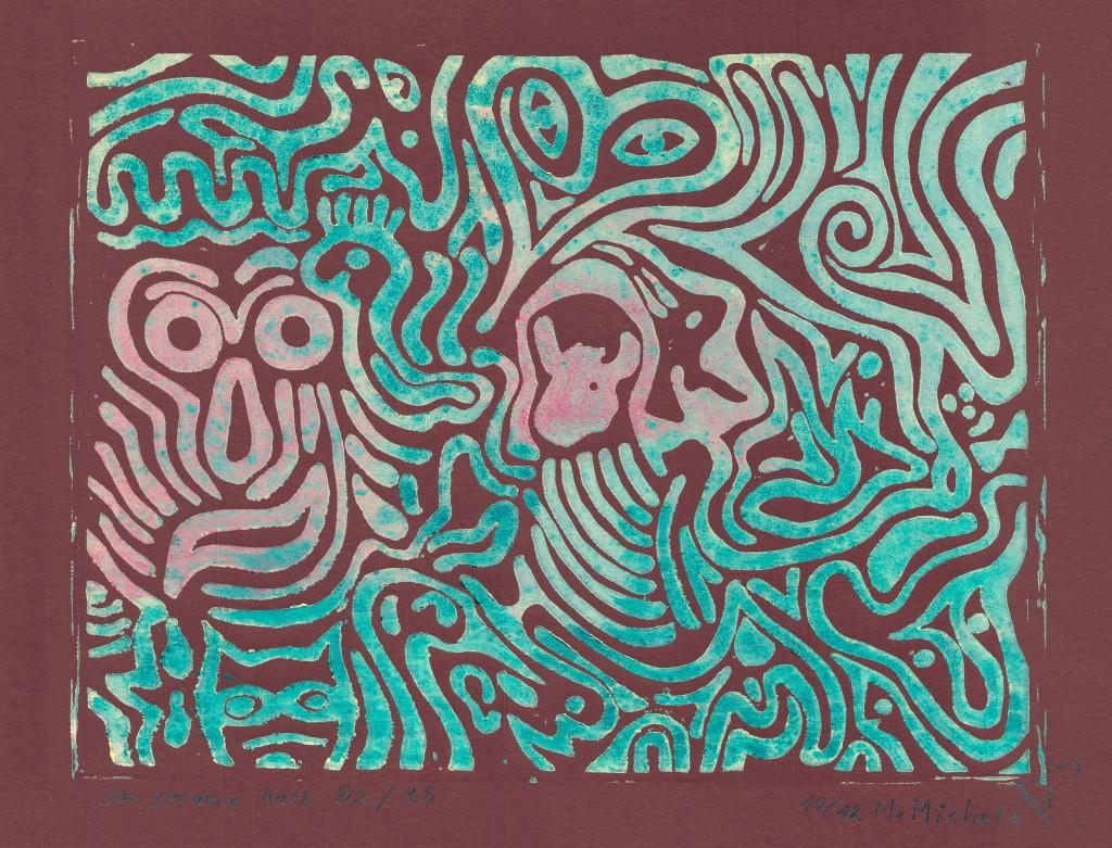 Linolschnitt- und druck, Manfred Michels Nr.3