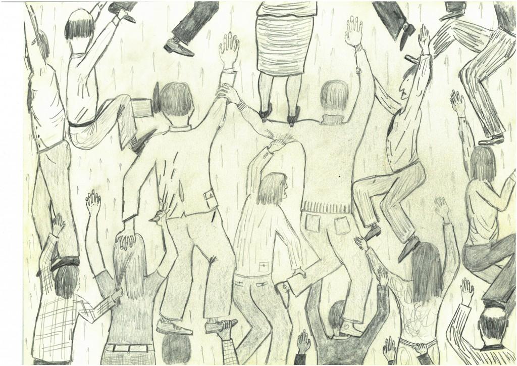 """""""Aufstiegskampf""""   1978   40 x 30,    Bleistift"""
