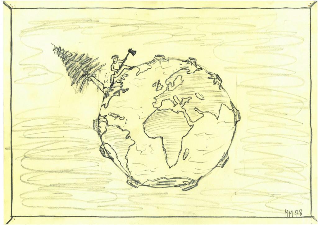 """""""Der letzte Baum""""   1978   38 x 28,   Bleistift"""