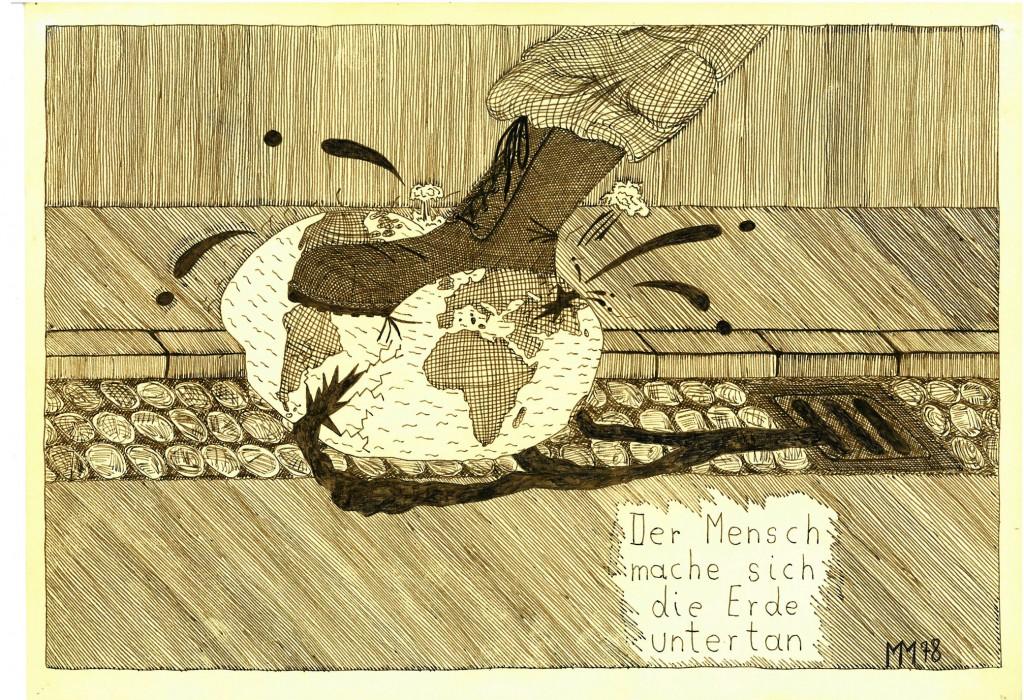 """""""Der Mensch mache sich die Erde Untertan""""    1978    38 x 28,               Tusche"""