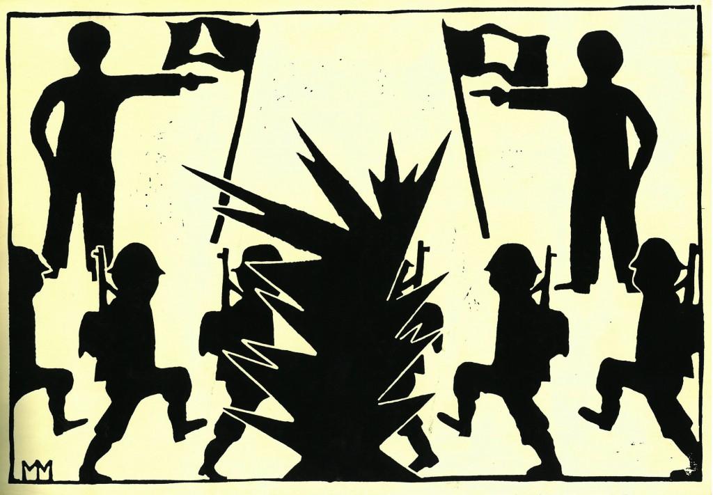 """""""Auf in den Kampf""""   1978   38  x 28,   Linolschnitt"""