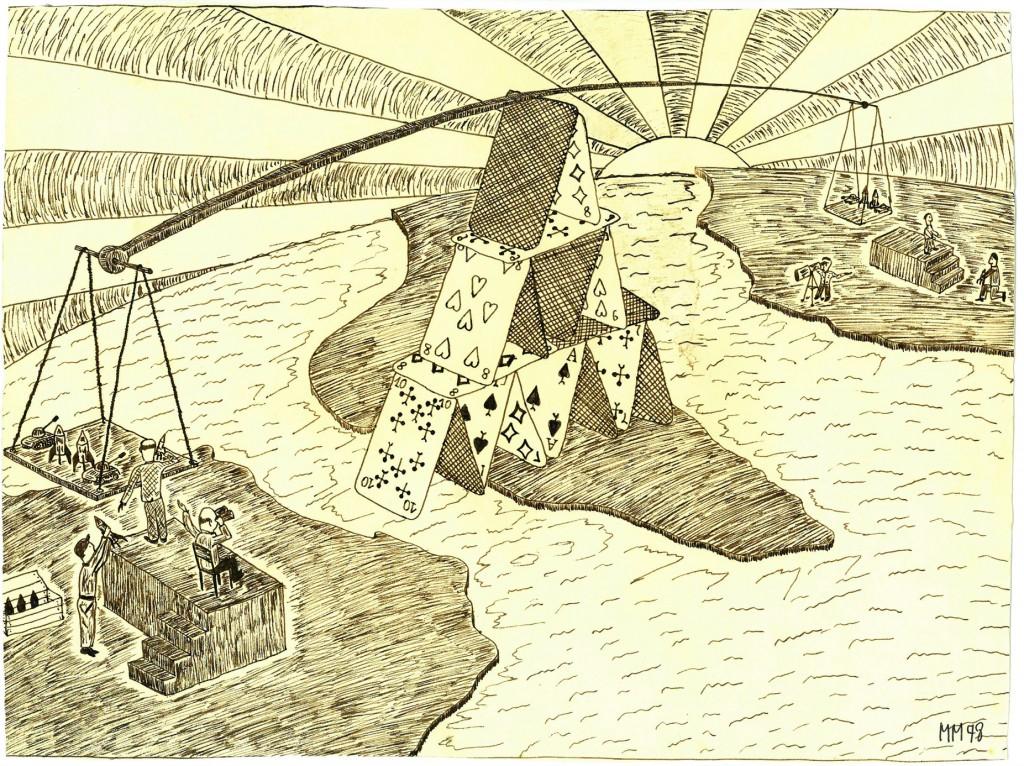 """""""Das Gleichgewicht des Schreckens""""   1978   38 x 28,    Tusche"""