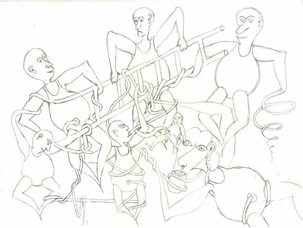 """""""Hier ist die Verkabelung ins Auge gegangen""""  1982,   40 x 30, Bleistift"""