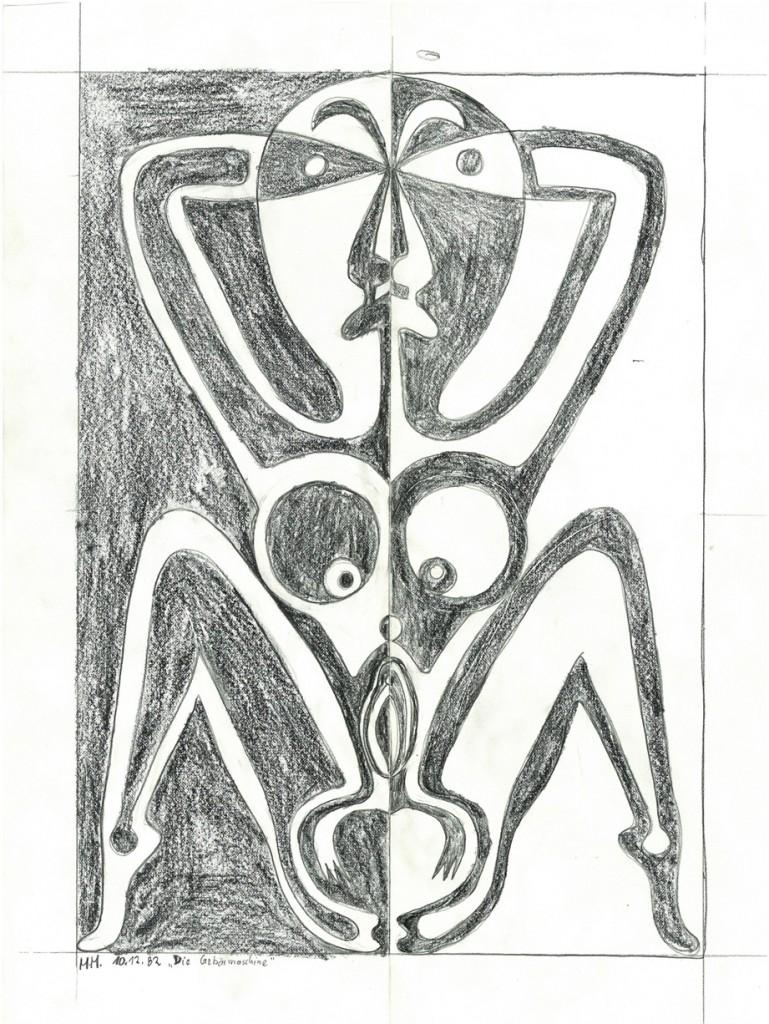 """""""Gebärmaschine""""    1982, 34 x 24,   Bleistift"""