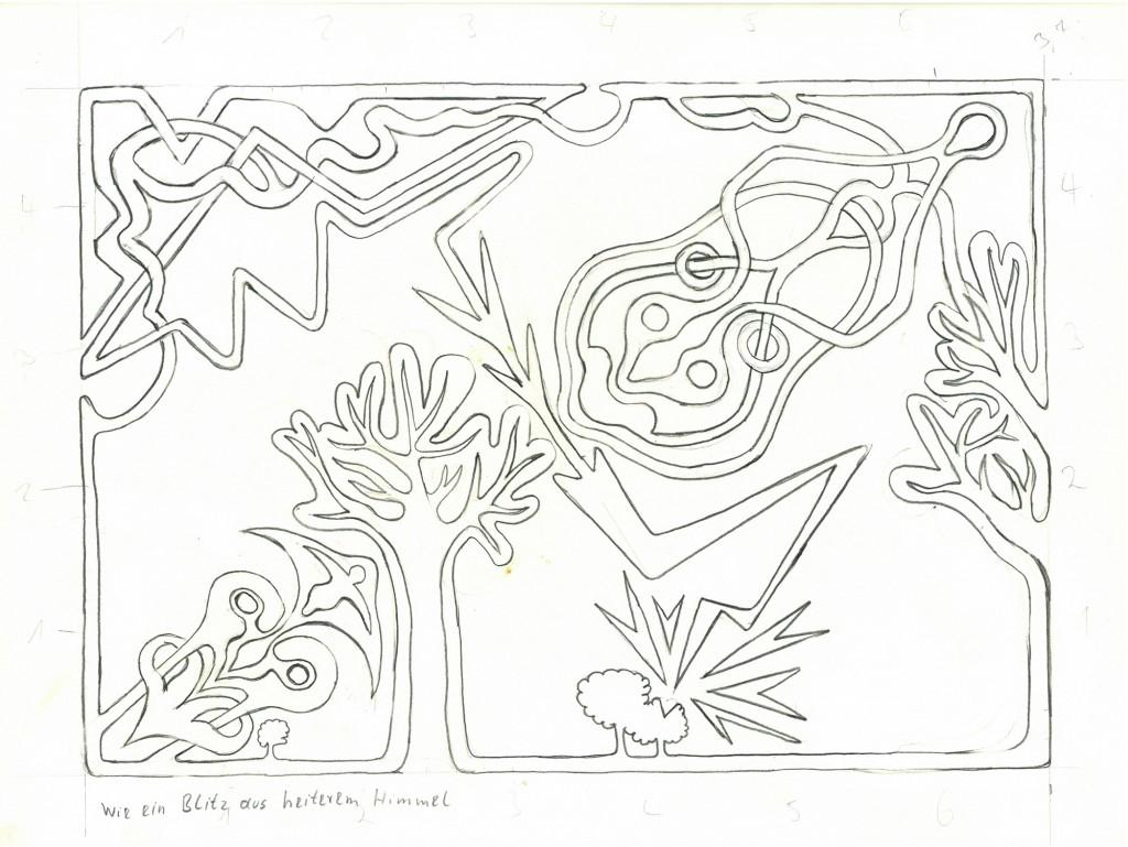""""""" Wie ein Blitz aus heiterem Himmel""""  1982, 40 x 30,  Bleistift"""