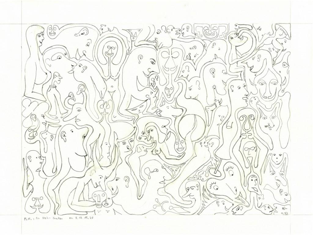 """""""Für Nahgucker"""" 1982, 34 x 24,  Bleistift"""