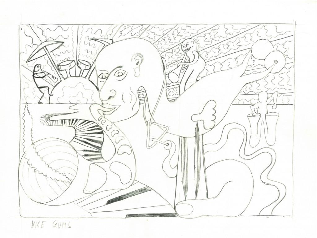 """Nice Gums""  1982, 34 x 24,    Bleistift"